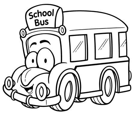 flashers: Vector illustration of School bus - Coloring book