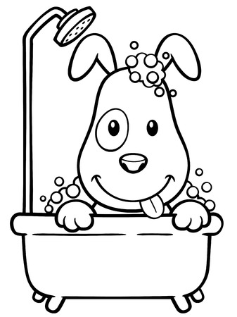 pooch: Vector illustration of Cartoon Dog Bathing - Coloring book