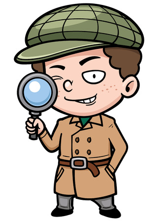 Vector illustration of Cartoon detective with magnifying glass Stock Illustratie