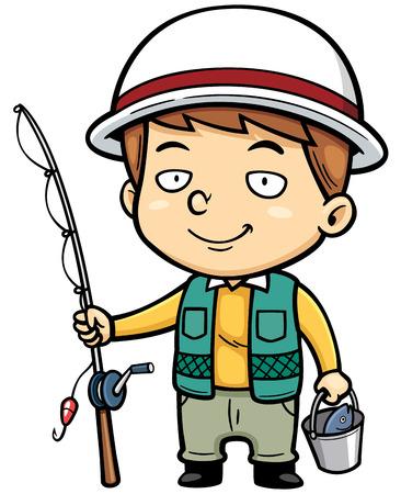 illustration of Cartoon fisherman 矢量图像