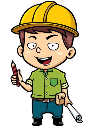 arquitecto caricatura: Ilustración vectorial de dibujos animados Hombre arquitecto plan de explotación
