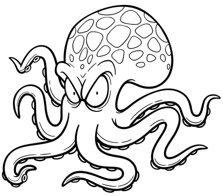 squid: illustration of Cartoon octopus - Coloring book