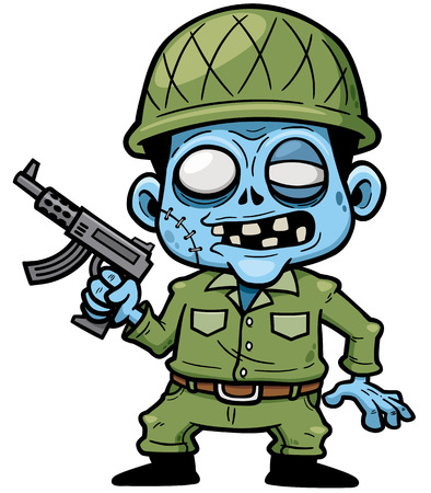 illustration of Cartoon zombie soldier with a gun Illustration