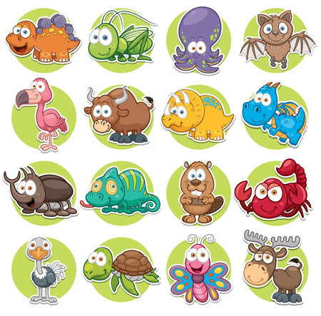 tortuga caricatura: Ilustración vectorial de conjunto de animales de dibujos animados
