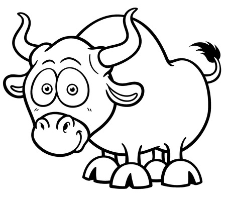 toro: Ilustración vectorial de dibujos animados Bull - del libro de colorante