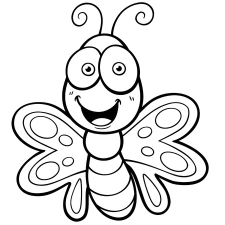 Vector Illustration of Butterfly cartoon - Coloring book