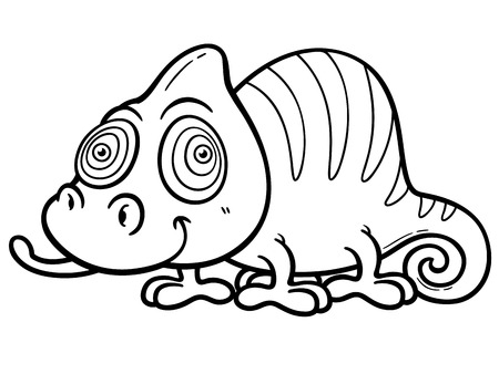 chamaeleo: Vector illustration of Cartoon Chameleon - Coloring book