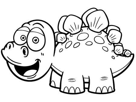 petrifying: Vector illustration of Cartoon dinosaur - Coloring book Illustration
