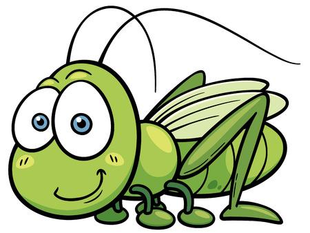 c cute: Ilustración vectorial de dibujos animados saltamontes