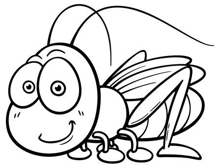 langosta: Ilustración vectorial de dibujos animados saltamontes - libro de colorante