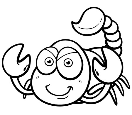 Vector illustration of cartoon scorpion - Coloring book Ilustração