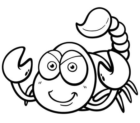 Vector illustration of cartoon scorpion - Coloring book Иллюстрация