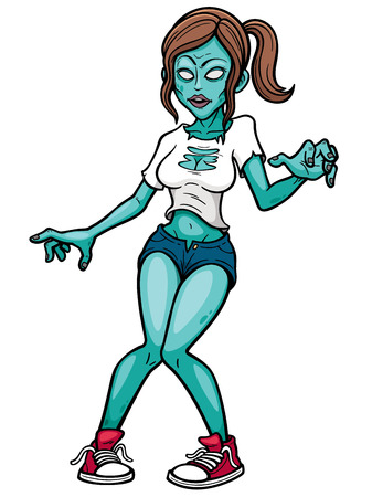 scared girl: Vector illustration of Cartoon Female zombie