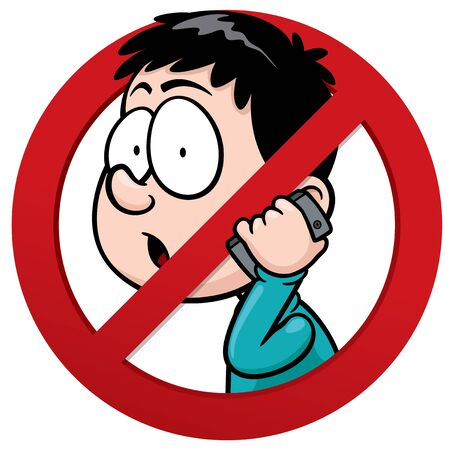 phone ban: Vector illustration of No phone receiver sign