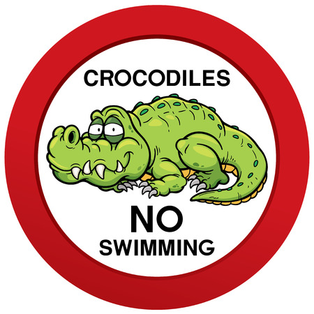 no swimming: Vector illustration of danger crocodiles no swimming sign