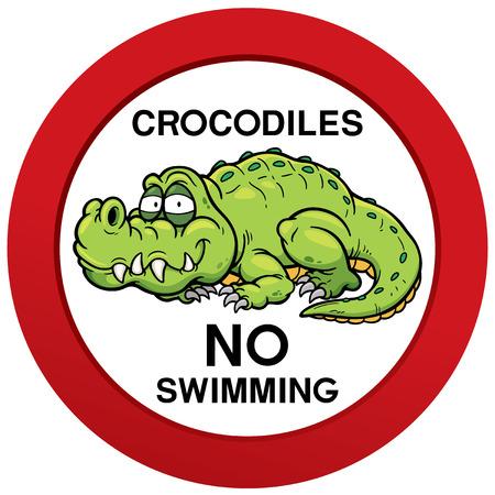 warned: Vector illustration of danger crocodiles no swimming sign