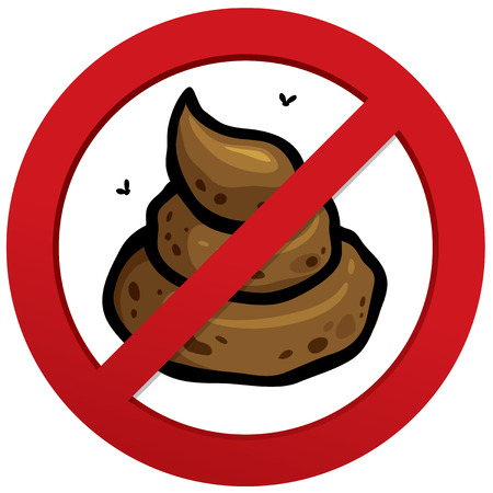 dog poop: Vector illustration of No poop sign