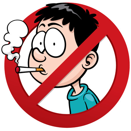 smoldering cigarette: Vector illustration of No smoking sign