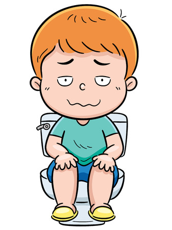 Vector illustration of boy is sitting on the toilet Ilustração