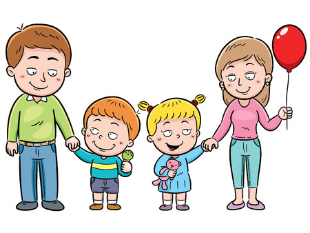 family isolated: Vector illustration of a Family in a Theme Park