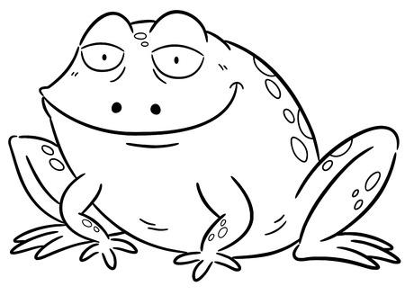 rana: Ilustración vectorial de dibujos animados rana - Libro para colorear