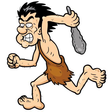 Vector illustration of Cartoon caveman running Vector