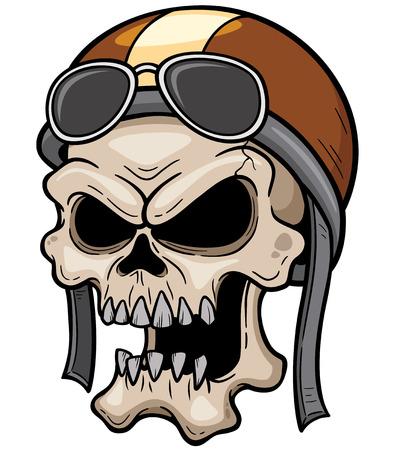 racing flag: Vector illustration of Skull wearing helmet
