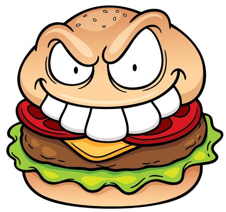 vegetable fat: Vector illustration of Cartoon hamburger Illustration