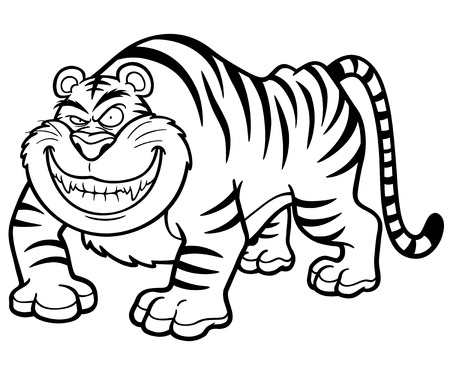 crouching: Vector illustration of Cartoon tiger - Coloring book