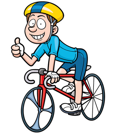 Vector illustration of Cartoon Cyclist Иллюстрация
