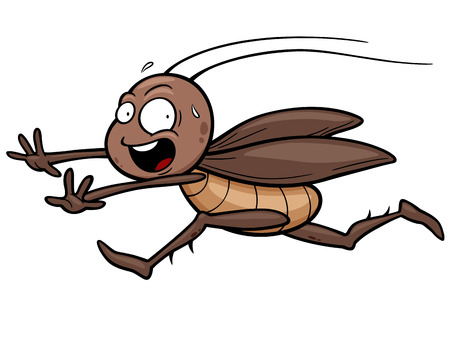 cockroach: Vector illustration of cartoon cockroach running