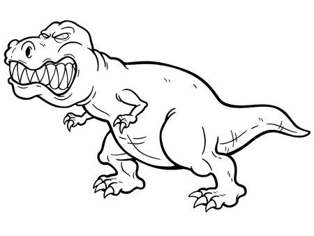 t rex: Vector illustration of cartoon dinosaur - Coloring book