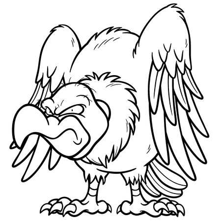 vulture: Vector illustration of Cartoon vulture - Coloring book Illustration