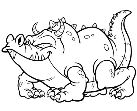 winged dragon: Vector illustration of Cartoon dragon  Coloring book