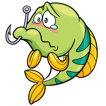 Vector illustration of fish with Fishing Hook