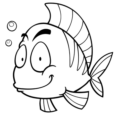 water weed: Vector illustration of Cartoon fish. Coloring book
