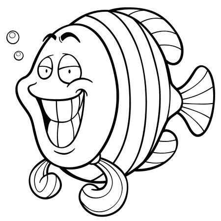 Vector illustration of Cartoon fish. Coloring book