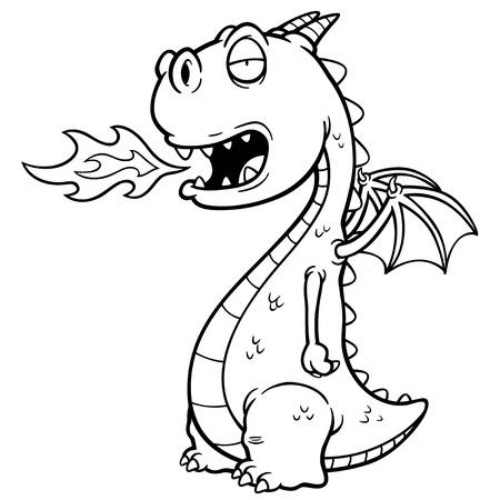 dragones: Ilustración vectorial de dragón de dibujos animados. Libro para colorear