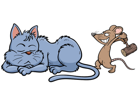Vector illustration of cartoon Cat and rat