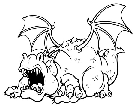 Vector illustration of cartoon dragon  Coloring book Vector