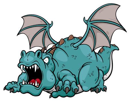 dumb: Vector illustration of cartoon dragon