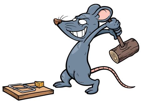 rata caricatura: Ilustración vectorial de rata de la historieta