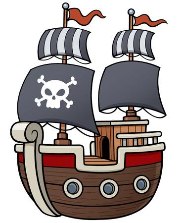 Ilustración del vector del barco pirata