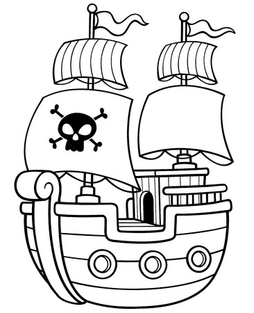 calavera pirata: Vector ilustración de libro del barco pirata para colorear