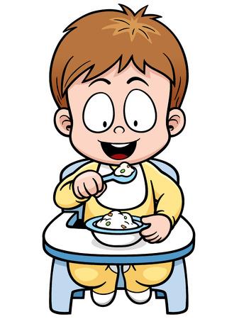 niños comiendo: Ilustración del vector de la historieta del bebé de comer
