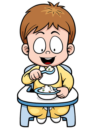 children eating: Vector illustration of cartoon baby eating Illustration