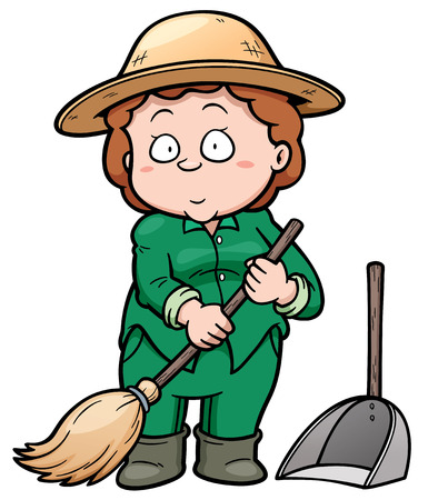 Vector illustration of Cleaner holding a broom