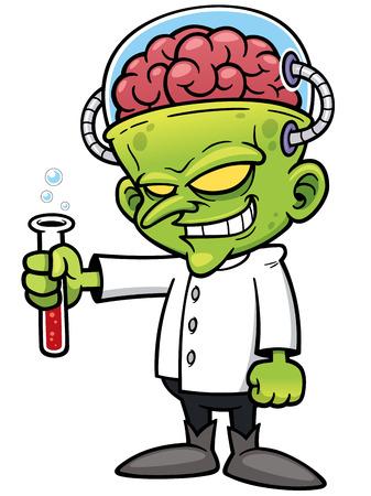 medico caricatura: Ilustración vectorial de dibujos animados científico