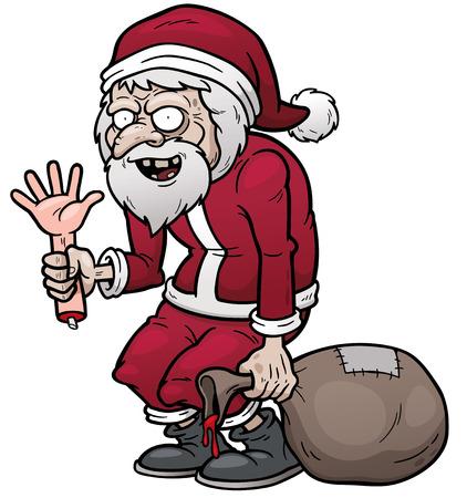 assassin: Vector illustration of cartoon Santa