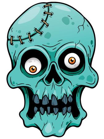 Ilustración del vector de la cara de la historieta del zombi